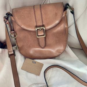💥Fossil brown leather saddlebag with dustbag